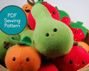 Fruit Pattern Bundle, PDF Sewing Pattern, Pear, Apple, Orange, Strawberry Sewing Pattern