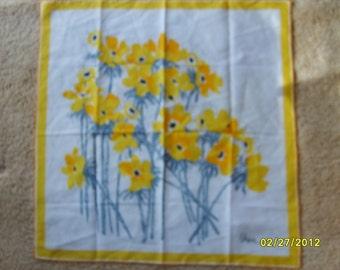 Vintage Vera Scarf, Yellow Floral Scarf, Designer Scarf, Yellow Accessories, Vera Nauman