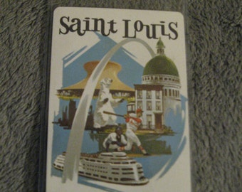 Delta STL Luggage Tag - Delta Airlines DL St. Saint Louis Missouri Vintage Playing Card Suitcase Bag  Name Tag
