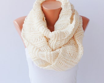 Knitted infinity scarf .cowl loop scarf ,ivory