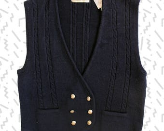 Navy Wool Blend Knit Sweater Vest