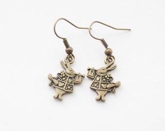 White Rabbit Earrings / Alice in Wonderland Earrings / Bunny Earrings / Kawaii Earrings / Rabbit Earrings / Bunny Jewelry
