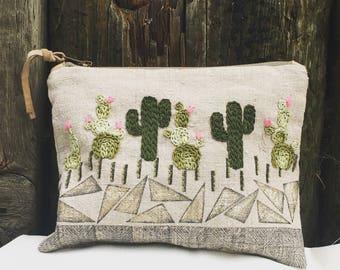 Cactus cosmetic bag, linen makeup bag, Pencil pouch, Cactus, linen bag