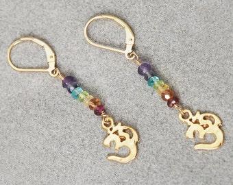 7 Chakra earrings / CHAKRA Stones / OM Earrings / Chakra Jewelry / Chakra Stone Set / Chakra Crystals / Energy Jewelry / Gold OM charms