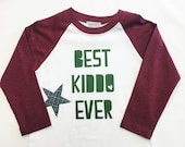 "Boys Raglan Sleeved Shirt with ""Best Kiddo Ever&qu..."