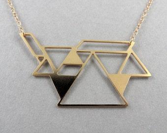tangram puzzle jewelry necklace triangle necklace geometric jewelry