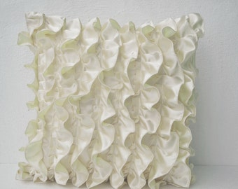 Decorative pillow cover, Satin pillow cover, Ruffles pillow, Ivory White pillow, Decorative Cushion Cover, Mother's day gifts, Gift For Her.