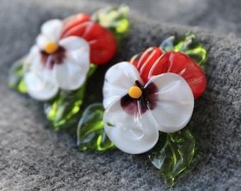 Lampwork Flower Bead, Handmade Pansy Bead - 1 pc, Lampwork Glass, Pansy Flower, Glass Beads, Floral Lampwork, Lampwork Flower, Pansy, Flower