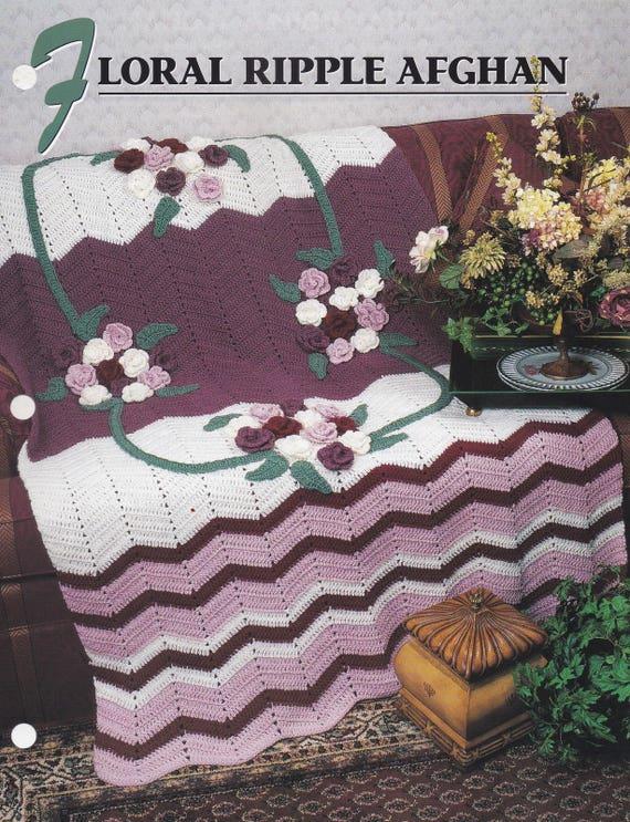 Flores rizo afgano Attic Crochet tejido de Annie y patrón