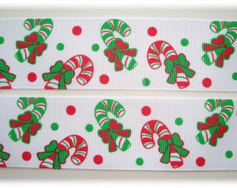 """PEPPERMINT CANDY CANES Christmas Grosgrain Ribbon - 7/8"""" & 1.5"""" - Oh My Gosh Goodies"""