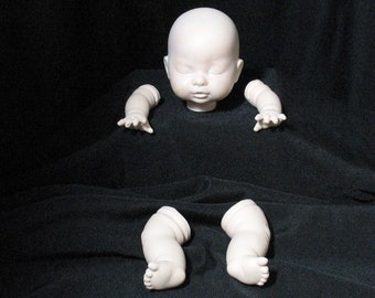 Vintage Bisque Baby Doll Head Arms Legs New Old Stock NOS FS
