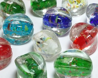10pcs Chunky Lampwork Beads - Assorted Colour Beads - Speckled Beads - Focal Beads - Handmade Beads - Artisan Beads - ZZZ1442-M
