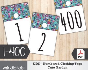 Dot Dot Smile Clothing Number Tags, 1-400, Pop-Up Boutique, Fashion Consultant, Cute Garden Design, Direct Sales, INSTANT DOWNLOAD