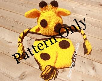 CROCHET PATTERN PDF Giraffe Newborn Baby Photo Prop, Giraffe Hat and Diaper Cover, Newborn Photo Prop, Zoo Animal, Animal, Giraffe Hat