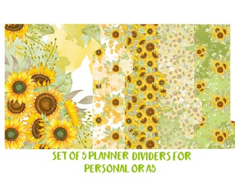 Set of 5 Planner Dividers for Personal or A5 size. Planner Accessories, Planner Decorations, Filofax, Kikki k. Fall, Autumn, Sunflower - 071