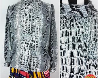 Sassy Vintage 90s Black & White Snakeskin Reptile Alligator Pattern Silky Blouse