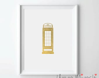 London Phone Booth Gold Foil Print, Gold Print, Great Britain Custom Print in Gold, Illustration Art Print, Gold Foil Art Print