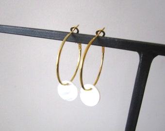 fine hoop earrings Pearl drops
