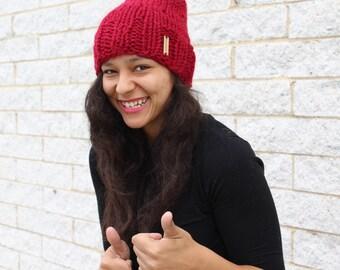 Women's winter hat, Knit slouchy hat, Red hat - Knit skull cap - The Pryanka, Unisex fashion, Gift idea, Korean fashion