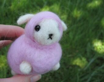 Felted Sheep Pink Nursery Decor Kawaii