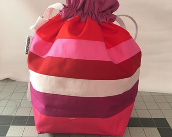 STRIPED & PIECED medium fully-lined cotton drawstring knitting project bag