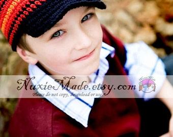Black Stripe Boys Winter Hat, Stripe Newsboy, Boys Crochet Newsboy, Black Stripe Beanie, Black Winter Hat, Stripe Winter Hat, Winter Newsboy