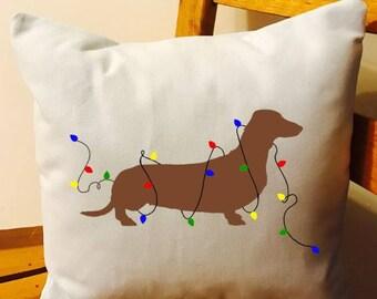 Santa Paws Dachshund Dog Christmas Merry Christmas throw pillow decorative pillow