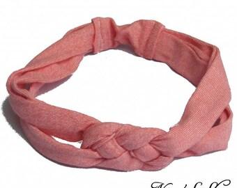 Jersey headband, pink Heather, custom.