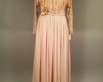 1960s/70s Mignon by Dorothy Farbo Gown, Blush Evening Gown, Fringe Lace  and Chiffon Dress, Chiffon Evening Gown, Montaldo's Dress