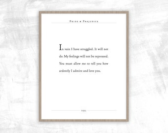 Jane Austen Quote | Pride and Prejudice quote | How Ardently I Admire and Love You | Gifts for Wife, Husband, Spouse