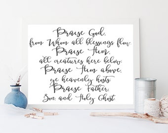 Doxology Hymn Print, Praise God From Whom All Blessings Flow, 10x8