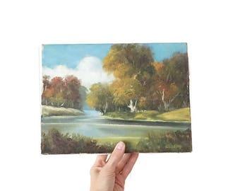 Vintage Mid Century Original Landscape Oil Painting , 1960s Signed Woodley