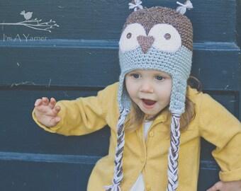 Owl Hat, Crochet Hat, Blue Owl, Owl Beanie, Blue Beanie, Baby Boy Hat, Baby Boy Owl, Baby Owl Hat, Newborn Owl Hat, Baby Shower Gift