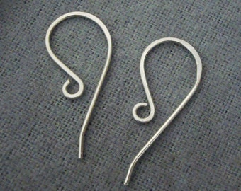 4 Pieces, 2 Pairs, Handmade Hammered French Hook Ear Wire with Long Tail, Sterling Silver .925, 20 gauge, 25mm x 12mm, SE006