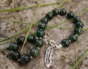 Apatite bracelet | feather charm bracelet | beaded apatite | Strung apatite bracelet | green apatite feather bracelet | sterling silver