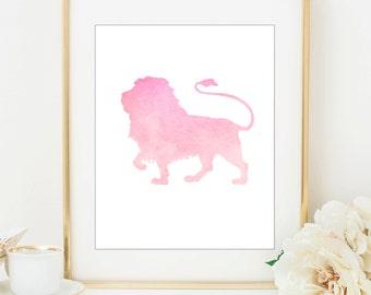Baby Girl Nursery - Girl Nursery Decor - Printable Nursery - Nursery Wall Art - Lion Nursery - Nursery Art - Nursery Decor - Pink Lion Print