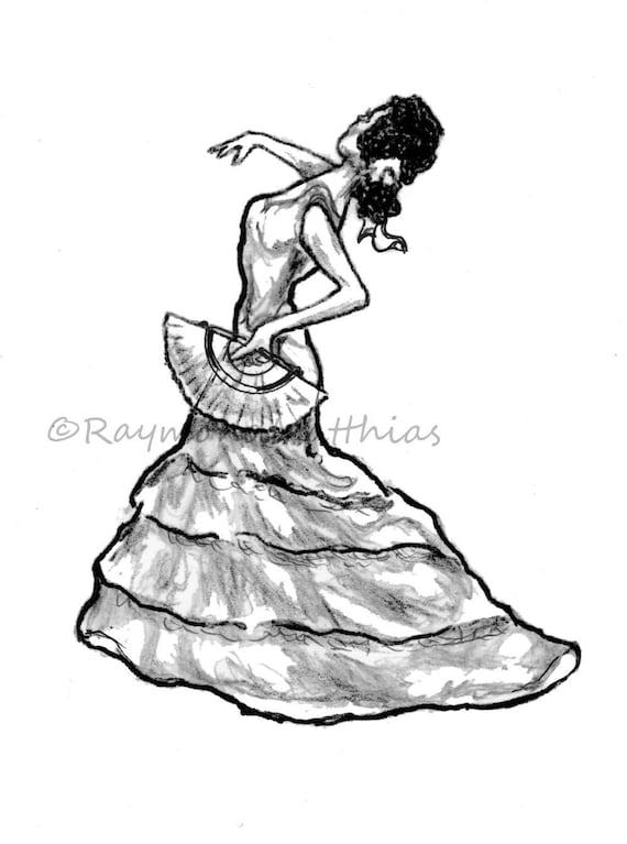Flamenco espagnole danseuse lencre dessin au crayon tirage - Danseuse flamenco dessin ...