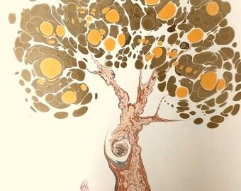 "Oak Tree - Original Marbling Art, Marbled Paper, The Original "" Marbled Graphics""TM by Robert Wu"