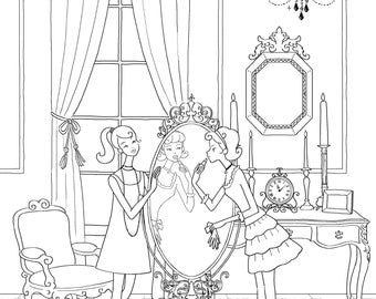 Adult Colouring Page, Printable Colouring Pages, yalzza, lovely girls. make-up, A4 300 dpi jpg