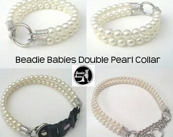 Double Pearl Dog Collar,Cat collar, Buckle Collars, Martingale Collars, Dog Pearls UNBREAKABLE GUARANTEE!