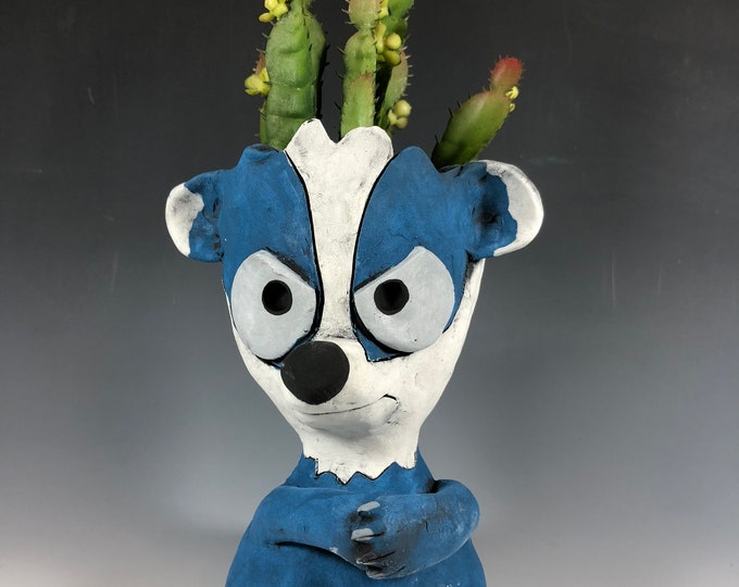Boz the Badger // Woodland Creature // Blue // Small Sculpture // Succulent Pot // Animal Planter // Adorable // Honey Badger // Awnry