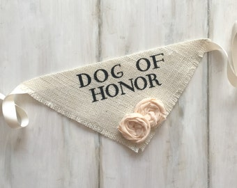 Custom Flower Color Dog Wedding Bandana Engagement Photos Save the Date Cards Dog of Honor Collar Girl Flowers Fabric Roses Proposal