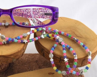 Jelly Bean multicolor colorful eyeglass sunglass handcrafted beaded chain never lose your glasses again!