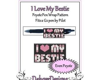 Bead Pattern Peyote(Pen Wrap/Cover)-I Love My Bestie