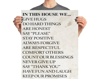 in this house, family rules poster, inspirational art, home decor, printables, Poster