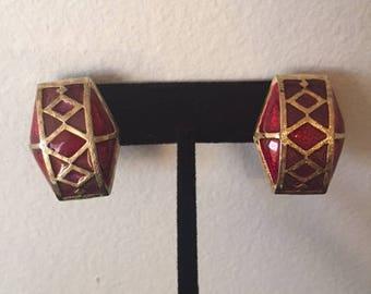 Vintage Red and Gold Pierced Earrings, Vintage Pierced Earrings, 1990s