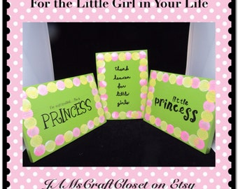 Sign Green Wooden Princess Wall Hanging Handmade Hand Painted Unique One of a Kind Home Decor Wall Art Girls Room Decor Gift Nursery Decor