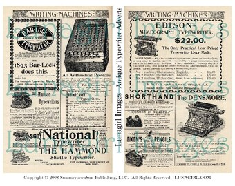 ADS TYPEWRITERS digital collage sheet vintage advertising Steampunk altered art Newspaper printed antique pages background ephemera DOWNLOAD