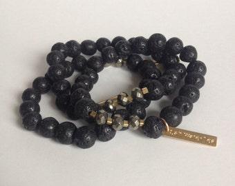 HARD CANDY BRACELET - Lava Stone, Brass + Pyrite