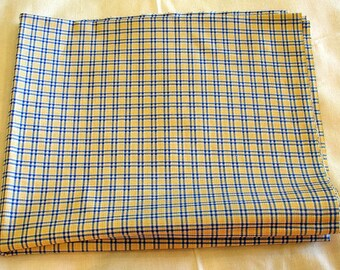 Fabric Destash - Blue & Yellow Plaid - 2 Pieces, 1 Yard and Almost 3 Yards